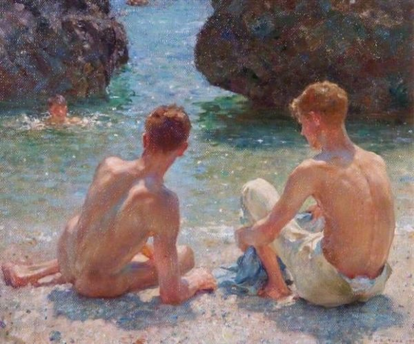 Henry Scott Tuke, 'The Critics', 1927. Courtesy of Leamington Spa Art Gallery & Museum