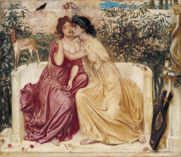 Simeon Solomon, 'Sappho and Erinna in a Garden at Mytilene', 1864