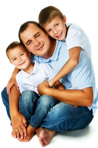 happy father with two sons