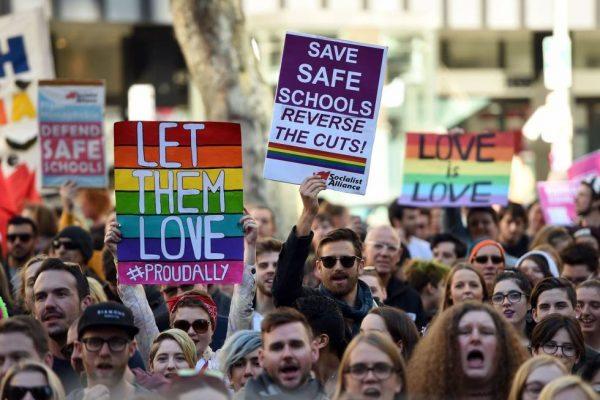 Manifestantes en Sidney a favor del matrimonio igualitario